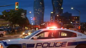 stock-footage-police-car-mississauga-a-police-car-blocking-traffic-during-an-event-in-downtown-mississauga